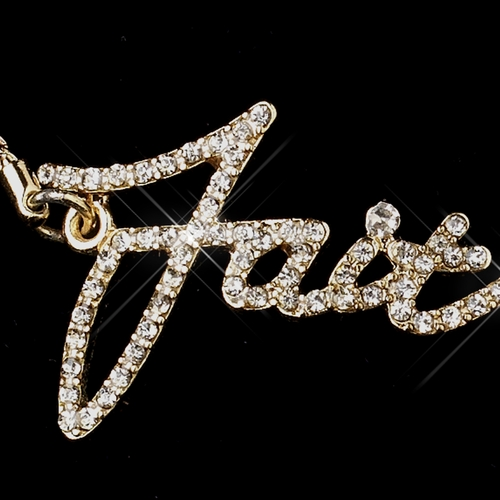 "Gold Clear Script ""Faith"" Bracelet 8827"