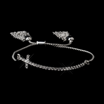Silver Clear Tassel Cross Bracelet 8829