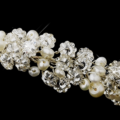 Antique Silver Freshwater Pearl Headpiece Comb 706