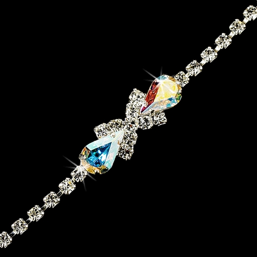 Rhinestone Tennis Bracelet in Silver Plating with Center Aurora Borealis Embellishment 342