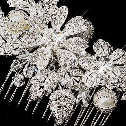 * Silver Rhinestone, Crystal & Ivory Pearl Comb 9914
