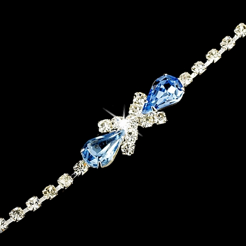 Rhinestone Tennis Bracelet in Silver Plating with Center Light Blue Embellishment 342