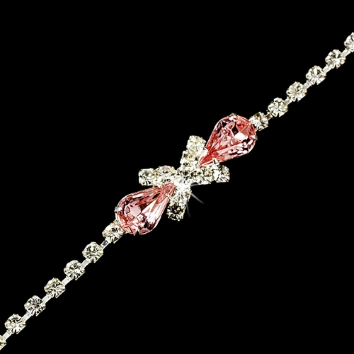 Rhinestone Tennis Bracelet in Silver Plating with Center Pink Embellishment 342