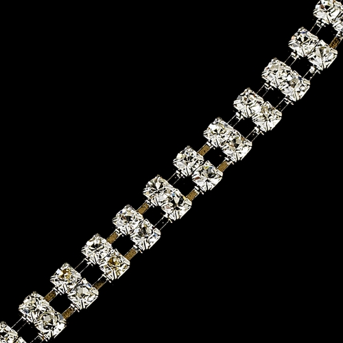 Silver Clear Double Row Rhinestone Bracelet 80002