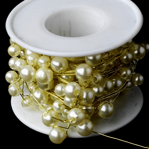 Bouquet Jewelry 273 Gold Ivory Pearl Wire (26 Foot Long)