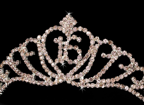 Sparkling All Pink Majestic Sweet 16 RhinestoneTiara in Silver 7032