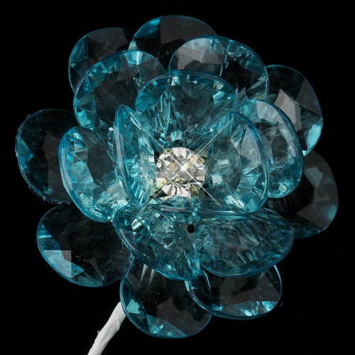 Silver Clear Austrian Crystal Center Blue Flower Bouquet 9894