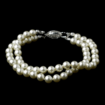 Silver Ivory Pearl Two Row Bracelet 9266***Discontinued***