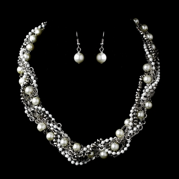 Ivory, Clear, White, and Rhodium Necklace Earring Set 8526