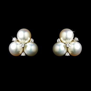 Triple CZ Crystal & Diamond White Pearl Stud Earrings 9408