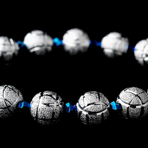 * Silver Spheres and Blue Crystal Bracelet 8505