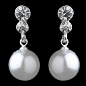 Silver White Pearl & Rhinestone Dangle Earrings 26570