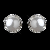 Silver White Pearl Rondelle Earrings 26598