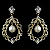 Gold Ivory Pearl & Clear Rhinestone Chandelier Earrings 26599
