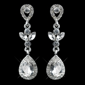 Silver Clear Rhinestone Teardrop Drop Dangle Earrings 26600