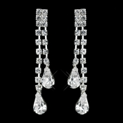 Silver Clear Teardrop Rhinestone Dangle Earrings 71333