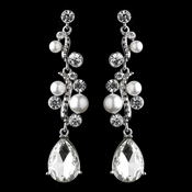Antique Silver White Pearl & Rhinestone Dangle Earrings 9117