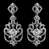 Rhodium Clear CZ Crystal & Rhinestone Drop Earrings 9263