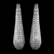 Solid 925 Sterling Silver Clear Rhinestone Long Pave Earrings 9264