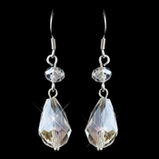 Silver Clear AB Teardrop Swarovski Crystal Hook Earrings 9393