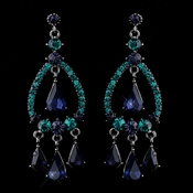 Silver Blue Teal Crystal & Rhinestone Teardrop Chandelier Earrings 8686