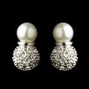 E 8761 Silver Diamond White CZ Pave Ball Earring