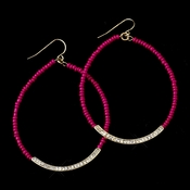 Gold Fuchsia Bead & Clear Rhinestone Hoop Earrings 8817