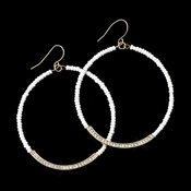 Gold White Bead & Clear Rhinestone Hoop Earrings 8817