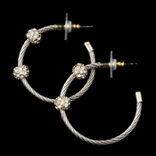 Antique Silver and Gold Rhinestone Hoop Earrings 8838