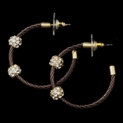 Gold Bronze Rhinestone Hoop Earrings 8838