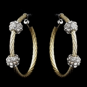 Gold Clear Rhinestone Hoop Earrings 8838