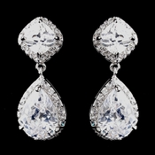 Antique Rhodium Silver Clear CZ Earrings 8924