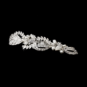 Silver Clear Rhinestone & Fresh water pearl bridal hair Barrette 3102***Discontinued***