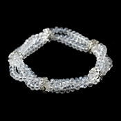 Clear Double Row Crystal & Rhinestone Bands Bracelet 7253