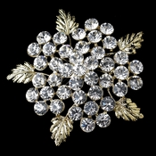* Gold Clear Rhinestone Flower Leaf Brooch 149 *** 3 Left ***