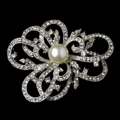 Antique Silver Clear Diamond White Pearl Brooch 30624