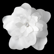 Rhinestone Jewel Diamond White Satin Fabric Flower Clip 484