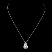 Antique Silver Clear CZ Drop Pendant Necklace 652