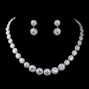 Antique Silver Clear Round CZ Crystal Necklace 9024 & Earrings 9115 Jewelry Set