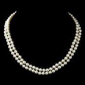 Silver Ivory Pearl Two Row Necklace 9266