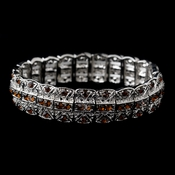 Silver Brown Rhinestone Stretch Bracelet 80380