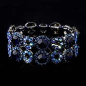 Hematite Sapphire & Light Blue AB Crystal Bridal Stretch Bracelet 8658