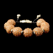 Gold Orange Jeweled Shamballa Pave Bracelet 8863