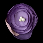 Purple Flower Sophistication Hair Clip with Faux Pearl Accents 9940 with Additional Brooch Pin