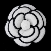 * Oldies White & Black Flower Hair Clip 9944 with Brooch Pin