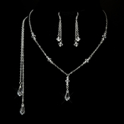 Silver Clear Swarovski Crystal Necklace 8428 & Earrings 8429 Jewelry Set