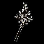Gold Clear Swarovski Crystal Leaf Pin 11203