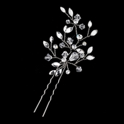 Silver Clear Swarovski Crystal Leaf Pin 11203