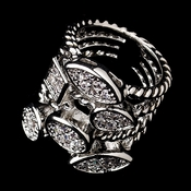 Antique Silver Cable Ring with Encrusted Rhinestone Shapes 2235 ***Discontinued***