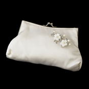 Silk Satin Evening Bag 202 with Silver Freshwater Pearl & Rhinestone Flower Brooch 167